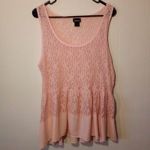 Torrid Pink Sheer Lace Peplum Top